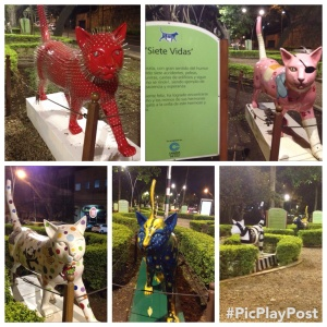 There is a park full of cat sculptures.  I don't really understand it, but it's kind of fun anyway.
