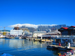 Table Mountain (draped in its tablecloth) over the V&A Waterfront