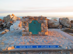 It is a common misconception that the oceans meet at the Cape of Good Hope, but it's actually here in Agulhas. There's even a sign to prove it!