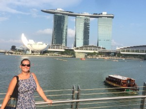 Exploring the waterfront. Beyond is the Marina Bay Sands Hotel, whiere I could definitely not afford to stay.