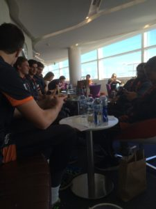 Spying on cute footy boys in the Virgin lounge