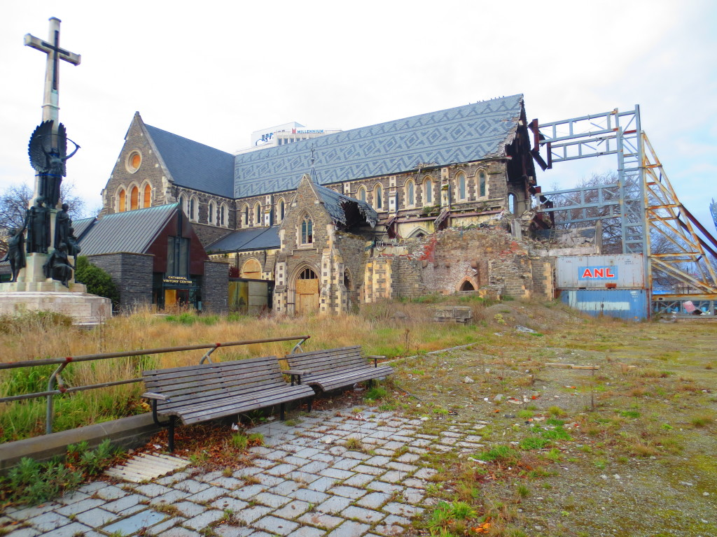 The half-crumbled cathedral still sits in the middle of Christchurch